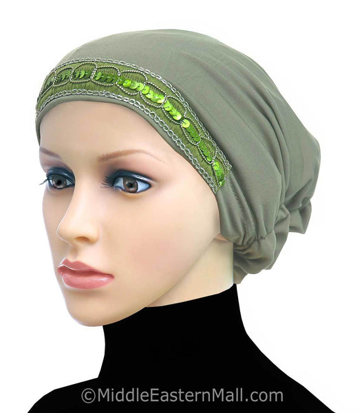 Green Women's Large Luxor Khatib Lycra Snood Hijab Cap