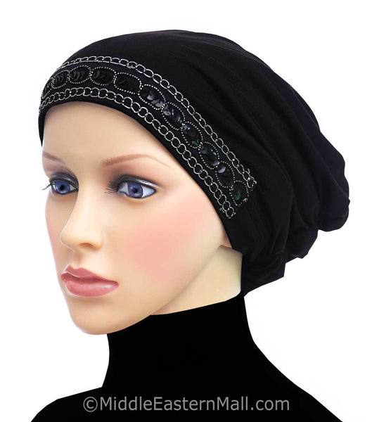 Black Women's Large Luxor Khatib Lycra Snood Hijab Cap