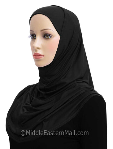 Wholesale 1 dozen  2 Piece Lycra Long Khatib Amira Hijab BLACK & WHITE