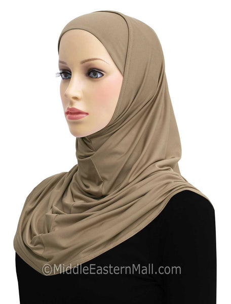 tan Amira Hijab 2 piece LYCRA Long