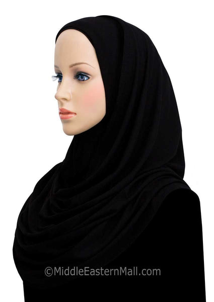 Set of 6 ALL BLACK Khatib Cotton Jersey Hijab Wraps