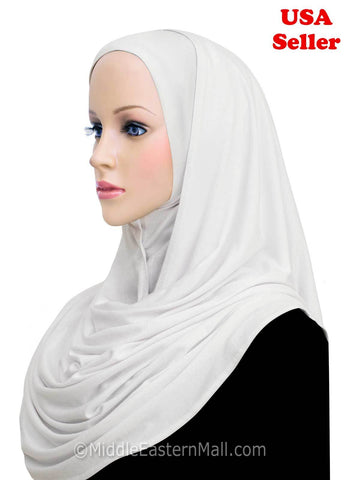 Khatib Jersey Cotton Hijab Wrap Head Scarf #5 White