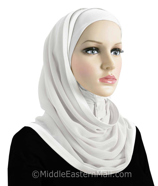 Set of 12  Khatib Kuwaiti Mona Hijabs all white