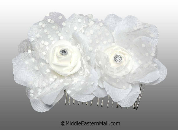 White Double Flower Hair Comb with Polka Dots - MiddleEasternMall