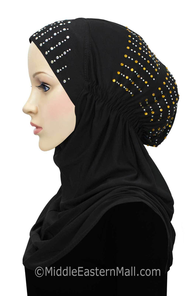 Layla Hijab 1 piece Lycra Amira Snood in #1 Black