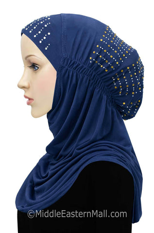 Layla Hijab 1 piece Lycra Amira Snood in #3 Royal Blue