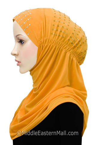Layla Hijab 1 piece Lycra Amira Snood in #5 Golden Yellow