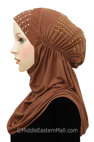 Layla Hijab 1 piece Lycra Amira Snood in #6 Cayenne