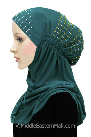 Layla Hijab 1 piece Lycra Amira Snood in #8 Teal Green