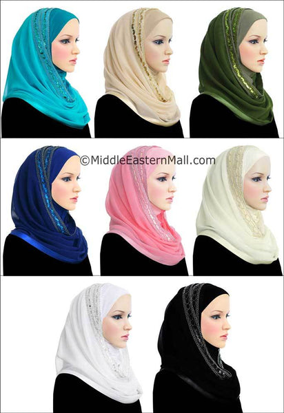 Wholesale Set of 8  Luxor Khatib Kuwaiti Mona Hijab in 8 different Colors
