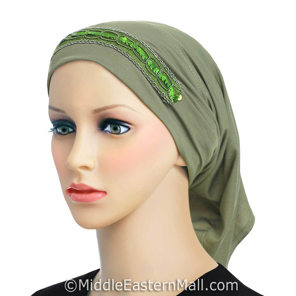 green LYCRA Extra Long Tube Hijab Cap