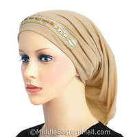 beige LYCRA Extra Long Tube Hijab Cap