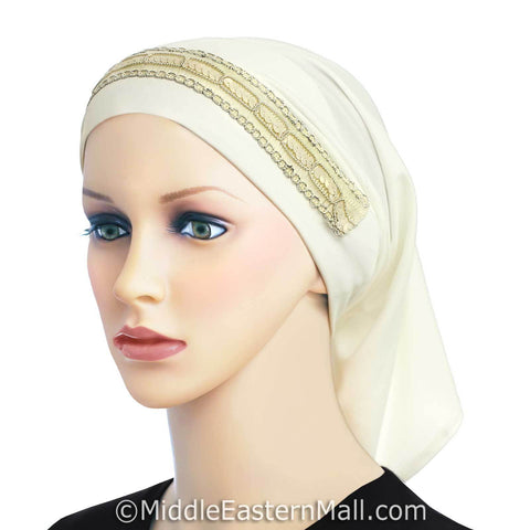 Luxor LYCRA Extra Long Tube Hijab Cap in #3 Ivory