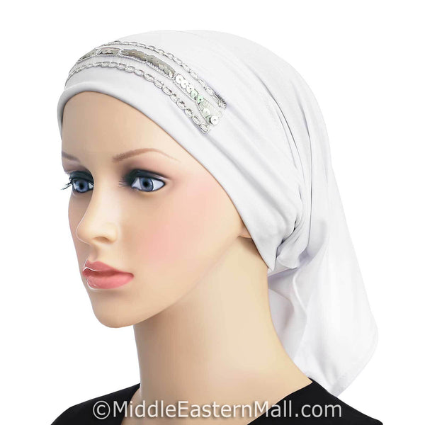 white LYCRA Extra Long Tube Hijab Cap