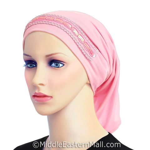 Luxor LYCRA Extra Long Tube Hijab Cap in #5 Pink