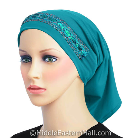 Luxor LYCRA Extra Long Tube Hijab Cap in #6 Turquoise