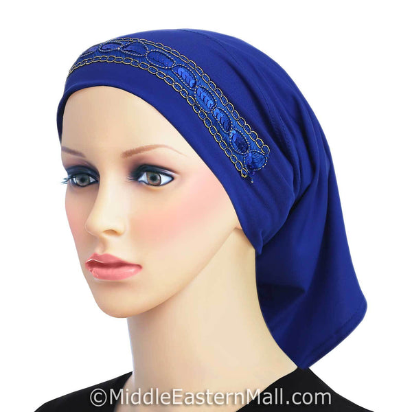 royal blue LYCRA Extra Long Tube Hijab Cap