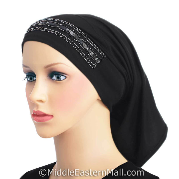 black LYCRA Extra Long Tube Hijab Cap
