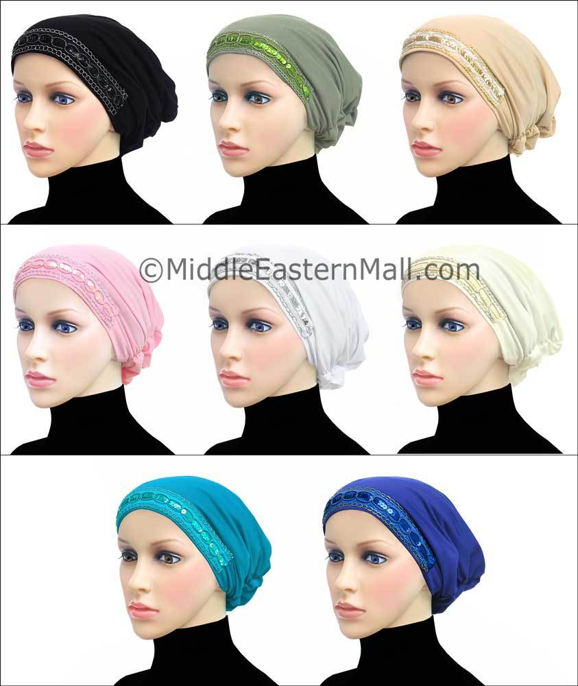 Wholesale Set of 8 Women's Large Luxor Khatib Lycra Snood Hijab Cap