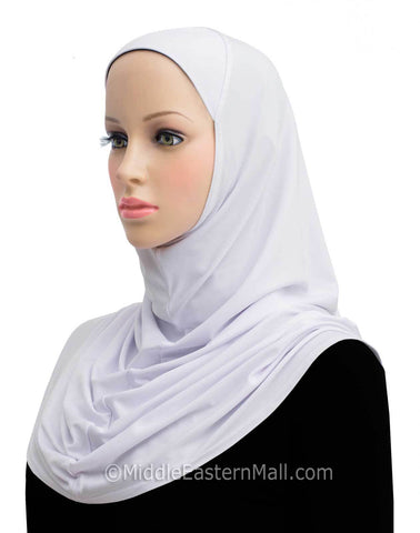 Amira Hijab Lycra Long 1 piece in #2 White