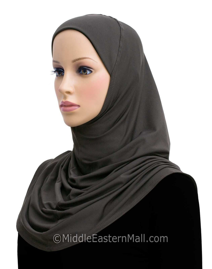 Amira Hijab Lycra Long 1 piece in #6 Charcoal Gray