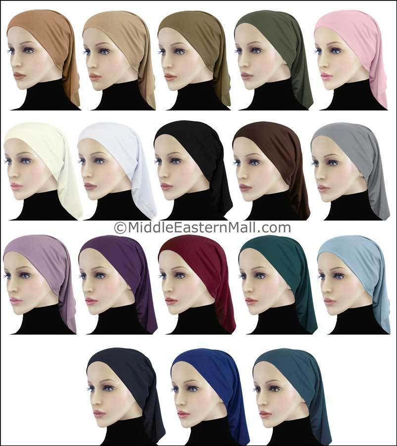 Wholesale Set of 18 Khatib LYCRA Extra Long Tube Hijab Caps 1 of Each Color