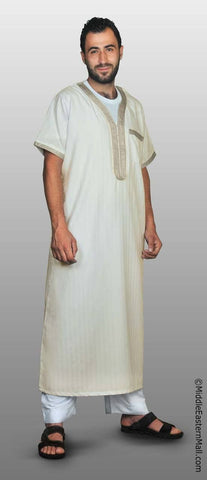 Men's Moroccan Thobe - #1 Cream  size LARGE 58 - MiddleEasternMall