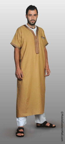 Men's Moroccan Thobe - #4 Antique Gold size SMALL 54 - MiddleEasternMall