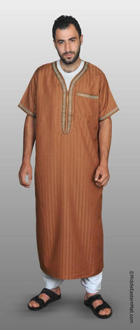 Men's Moroccan Thobe - #5 Copper size SMALL 54 - MiddleEasternMall