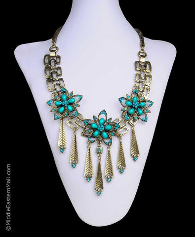 Middle East Necklace Turquoise Flowers #2 - MiddleEasternMall