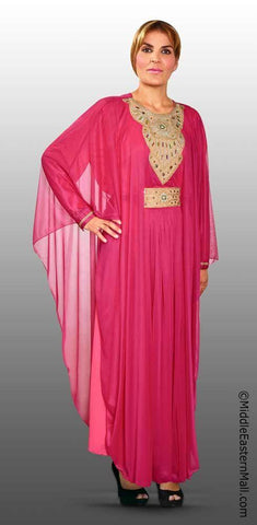 Festive Women's Abaya #3 Fuchsia sizes SMALL to  XLARGE - MiddleEasternMall - 1