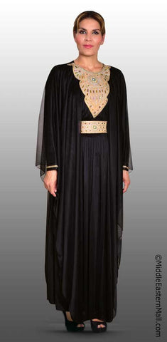 Festive Women's Abaya #1 Black sizes SMALL to XLARGE - MiddleEasternMall - 1
