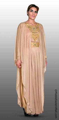 Festive Women's Abaya #4 Tan sizes SMALL  to XLARGE - MiddleEasternMall - 1