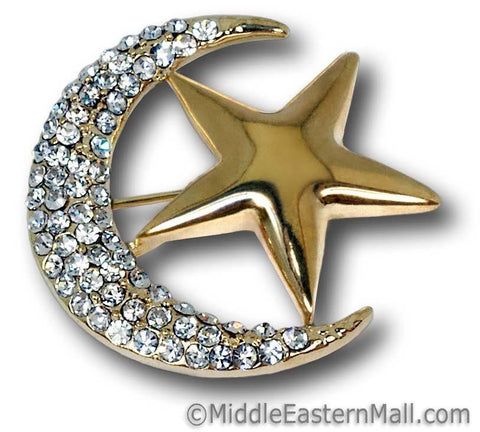 wholesale safety Hijab Pins Moon & Star Brooch in Gold