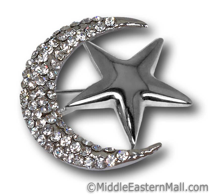 wholesale safety Hijab Pins Moon & Star Brooch in Silver