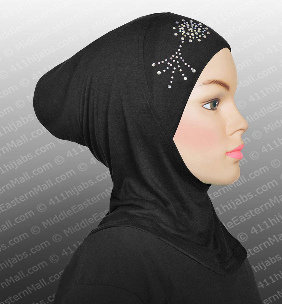 Ladies Highest Quality Cotton Spandex Ninja Hijab Cap w/Stones #1 Black - MiddleEasternMall