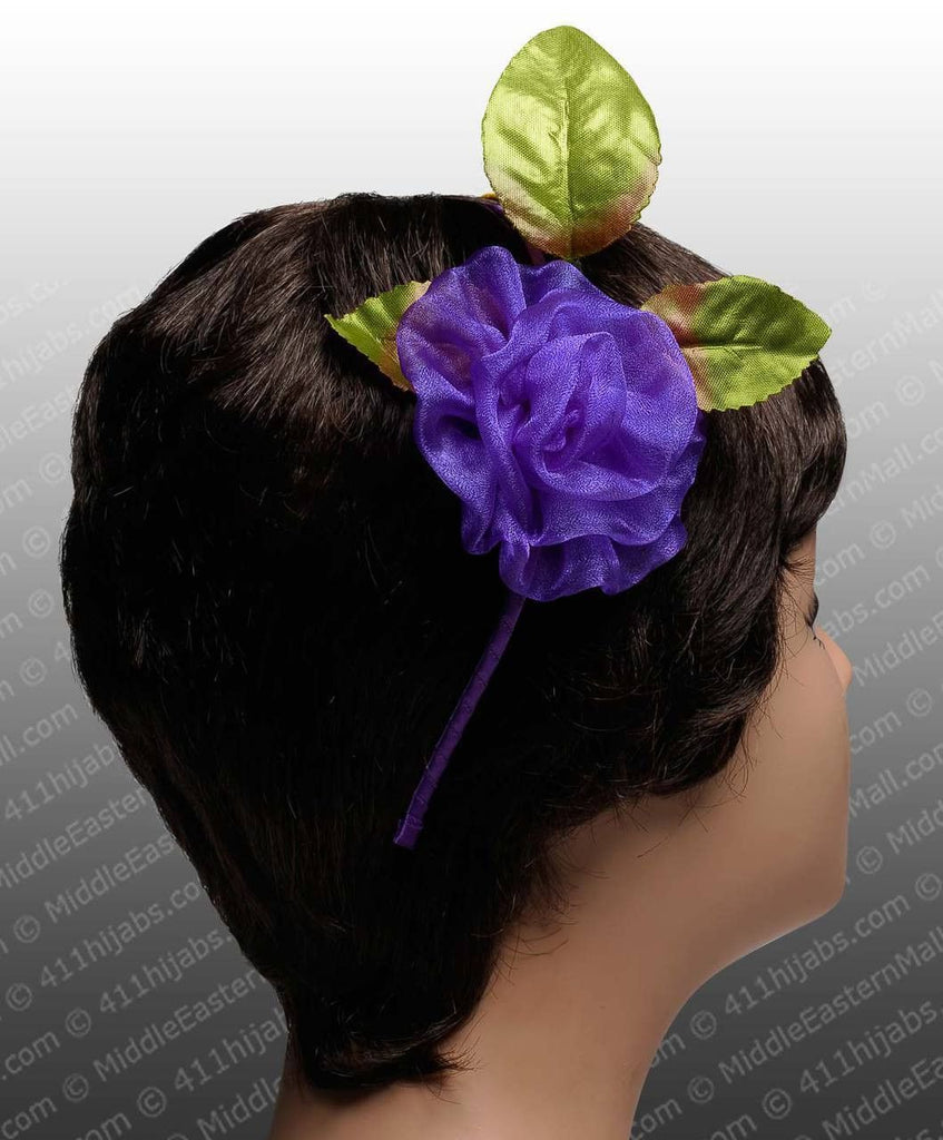 Organza Flower Headband #1 Purple - MiddleEasternMall