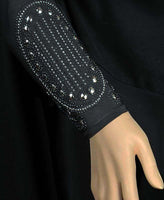 Victorian Design Iman Abaya with Silver Stone Victorian Design SIZE XSMALL#1 - MiddleEasternMall - 2