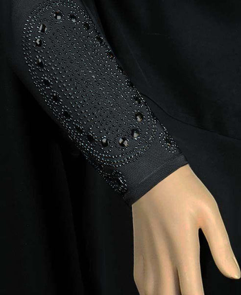 Victorian Design Iman Abaya with Black Stone SIZE XSMALL#1 - MiddleEasternMall - 2