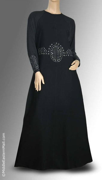 Victorian Design Iman Abaya with Silver Stone Victorian Design SIZE XSMALL#1 - MiddleEasternMall - 1