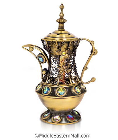 Sultan's Pitcher Charcoal Incense Holders - # 1  in Bronze - MiddleEasternMall