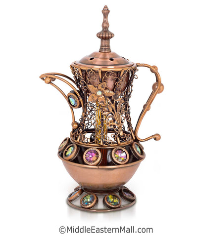 Sultan's Pitcher Charcoal Incense Holders - # 2 in Copper - MiddleEasternMall