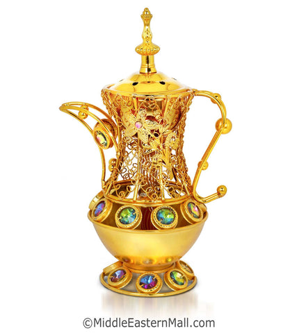 Sultan's Pitcher Charcoal Incense Holders- # 3  in Gold - MiddleEasternMall