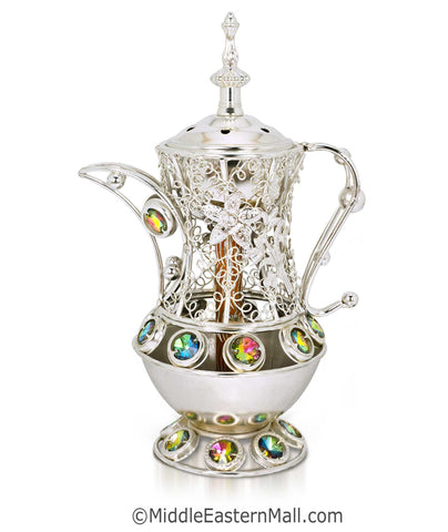Sultan's Pitcher Charcoal Incense Holders - # 4 in Silver - MiddleEasternMall