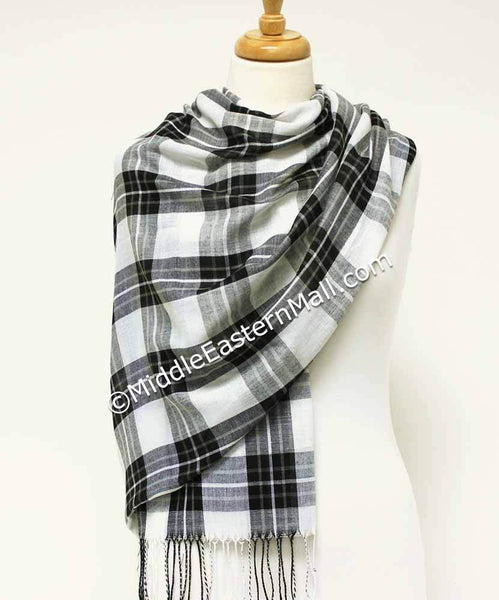black & white Women's Plaid Long Shawl Hijab Headscarves