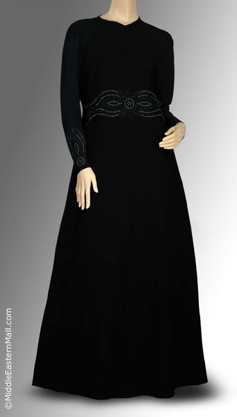 Flower Motif Iman Abaya with Silver & Black Studs SIZE XSMALL #1 - MiddleEasternMall - 1
