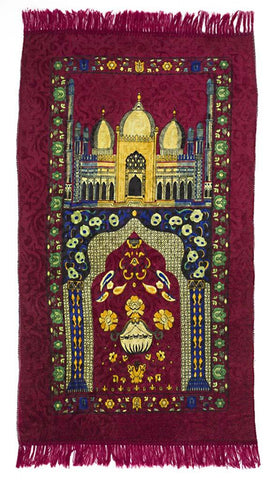 Adult Prayer Mat Mughal Domes in #10 Maroon