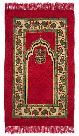 Adult Prayer Mat Mecca Design in #12 Burgundy