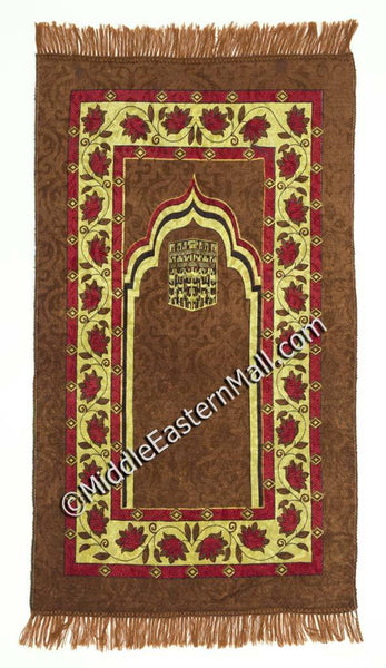 mecca prayer rug in brown