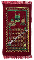 holy sites prayer rug in maroon